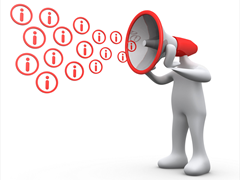 Clipart Illustration of a White Person With A Red Megaphone Head, Shouting Out Information